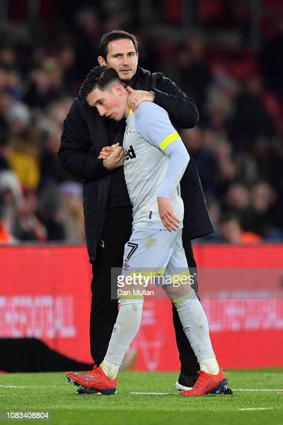 Derby County Manager Frank Lampard substitutes Harry Wilson during the FA Cup Third Round Replay match between Southampton FC and Derby County at St...