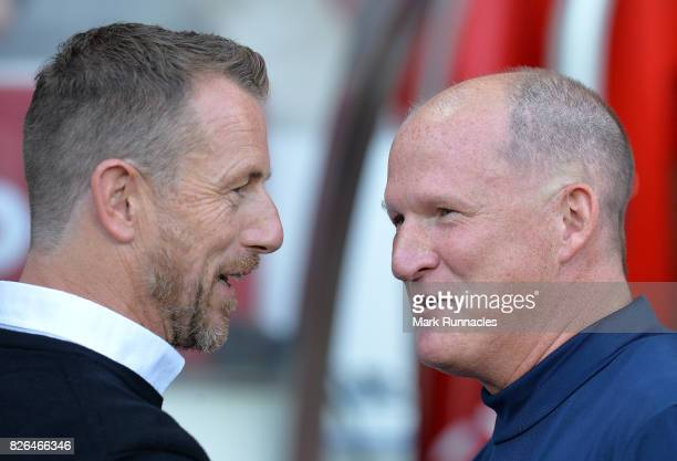 Derby County manager Gary Rowett and Sunderland manager Simon Grayson during the Sky Bet Championship match between Sunderland and Derby County at...