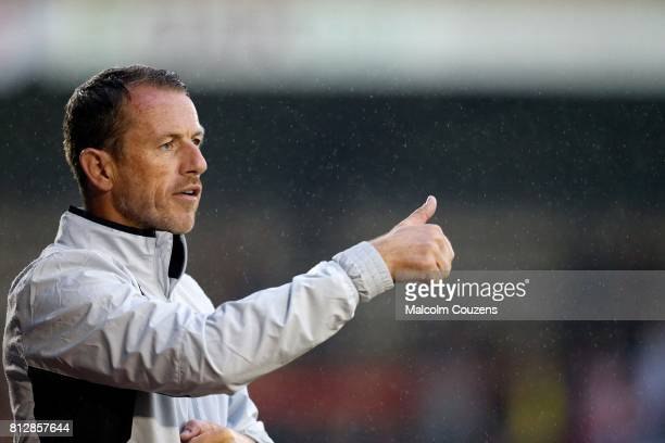 Derby County manager Gary Rowett looks on during the pre-season friendly between Kidderminster Harriers and Derby County at Aggborough Stadium on...