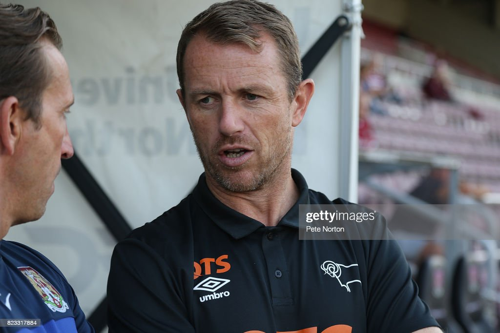 Derby County manager Gary Rowett looks on prior to the Pre-Season Friendly match between Northampton Town and Derby County at Sixfields on July 25, 2017 in Northampton, England.