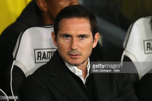 Derby County manager head coach Frank Lampard during the Sky Bet Championship between Derby County and Stoke City at Pride Park Stadium on March 13...