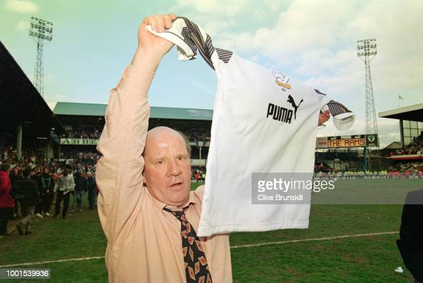 Derby County manager Jim Smith celebrates with a club shirt after Derby had acheived promotion to the Premiership after beating Crystal Palace at The...