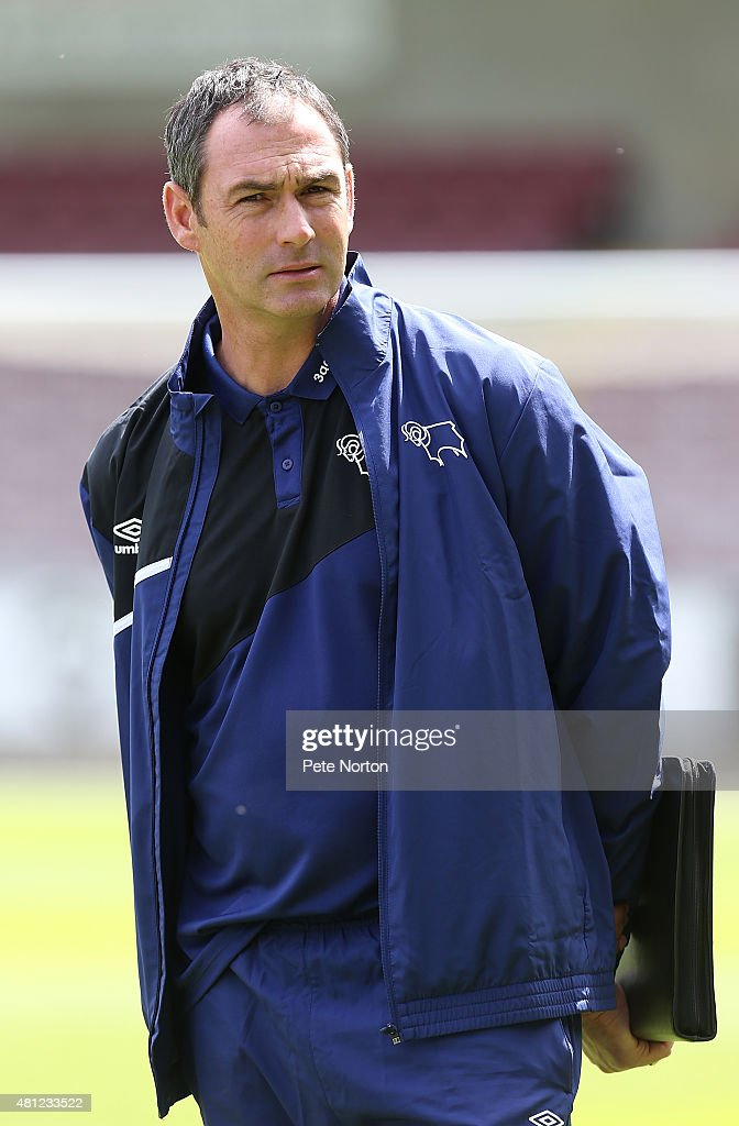 Derby County manager Paul Clement looks on prior to the Pre-Season Friendly match between Northampton Town and Derby County at Sixfields Stadium on July 18, 2015 in Northampton, England.