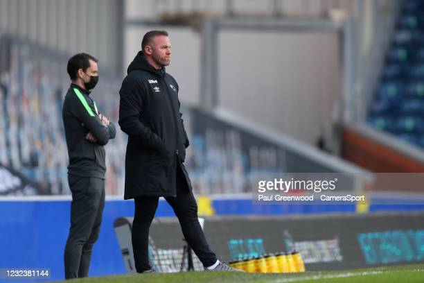 Derby County manager Wayne Rooney during the Sky Bet Championship match between Blackburn Rovers and Derby County at Ewood Park on April 16, 2021 in...