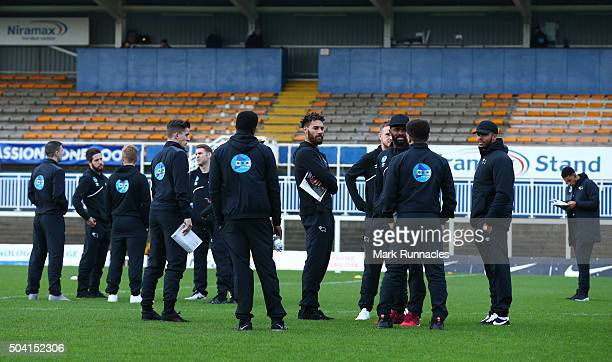 Derby County players inspect the pitch prior to the Emirates FA Cup third round match between Hartlepool United and Derby County at Victoria Park on...