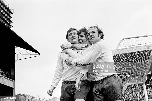 Derby County striker John O'Hare is congratulated by Kevin Hector and Archie Gemmill after scoring their 1st goal during the First Divison match...