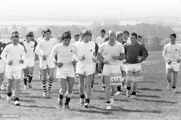Derby County training session for the new season at Colwick Wood, Nottingham. Leading the running drill is former Forest defender Terry Hennessey,...
