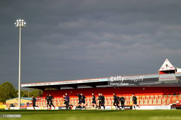 Derby County warm up ahead of the Premier League 2 match between Tottenham Hotspur and Derby County at The Lamex Stadium on April 29, 2019 in...
