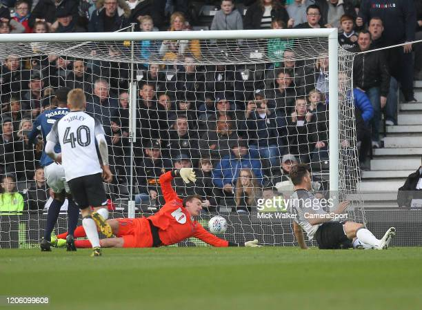 Derby County's Chris Martin scores his sides second goal beating Blackburn Rovers Christian Walton during the Sky Bet Championship match between...