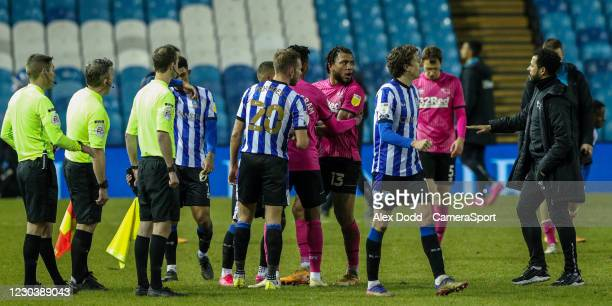 Derby County's Colin Kazim-Richards complains to referee Matthew Donohue after the match during the Sky Bet Championship match between Sheffield...
