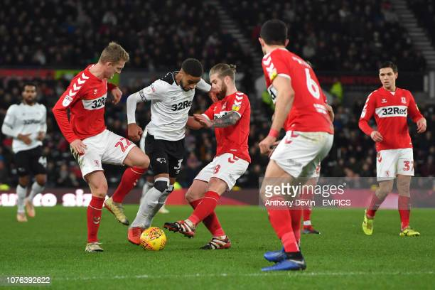 Derby County's Craig Forsyth goes past Middlesbrough's George Saville and Adam Clayton Derby County v Middlesbrough Sky Bet Championship Pride Park