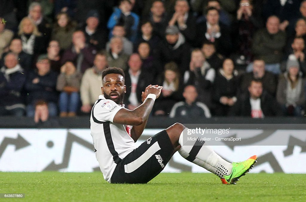 Derby County's Darren Bent looks bemused during the Sky Bet Championship match between Derby County and Burton Albion at iPro Stadium on February 21, 2017 in Derby, England.