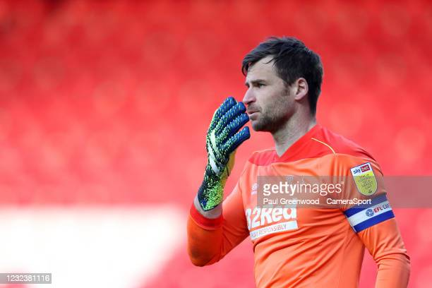 Derby County's David Marshall during the Sky Bet Championship match between Blackburn Rovers and Derby County at Ewood Park on April 16, 2021 in...