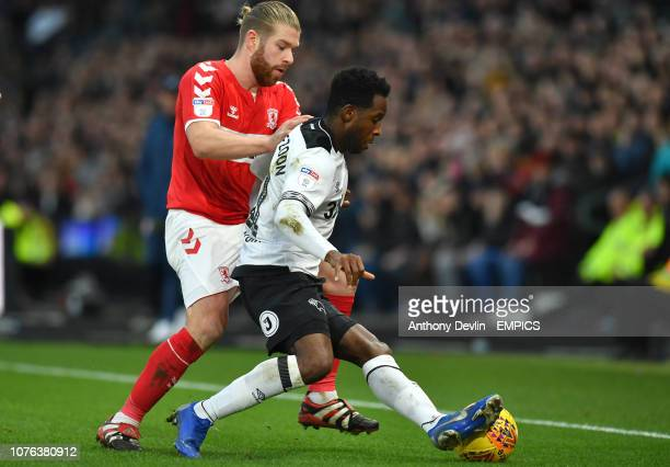 Derby County's Florian Jozefzoon is tackled by Middlesbrough's Adam Clayton Derby County v Middlesbrough Sky Bet Championship Pride Park