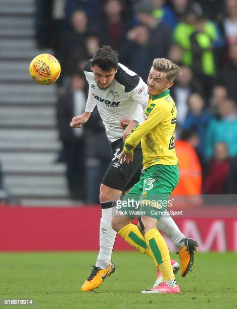 Derby County's George Thorne battles with Norwich City's James Maddison during the Sky Bet Championship match between Derby County and Norwich City...