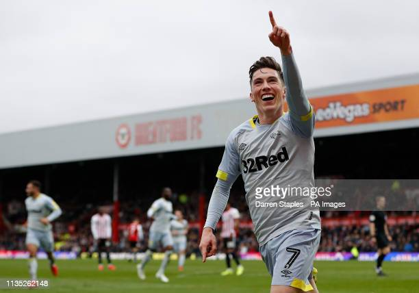 Derby County's Harry Wilson celebrates scores his side's third goal of the game Brentford v Derby County Sky Bet Championship Griffin Park