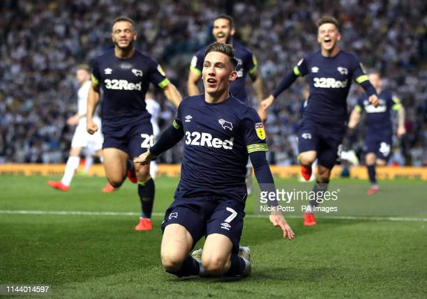 Derby County's Harry Wilson celebrates scoring his side's third goal of the game from the penalty spot during the Sky Bet Championship PlayOff Semi...