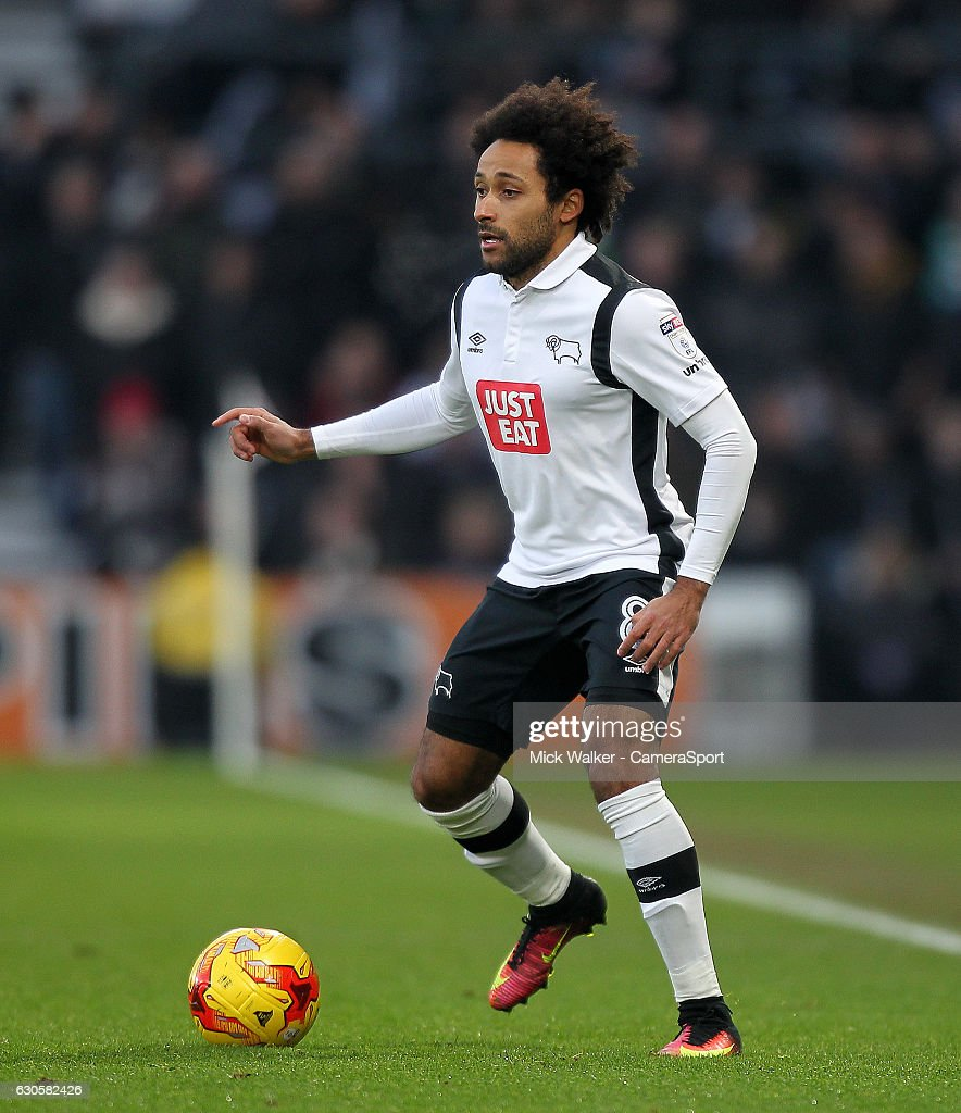 Derby County's Ikechi Anya during the Sky Bet Championship match between Derby County and Birmingham City at iPro Stadium on December 27, 2016 in Derby, England.