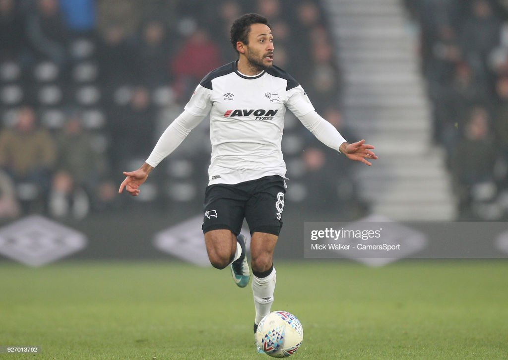 Derby County's Ikechi Anya during the Sky Bet Championship match between Derby County and Fulham at iPro Stadium on March 3, 2018 in Derby, England.