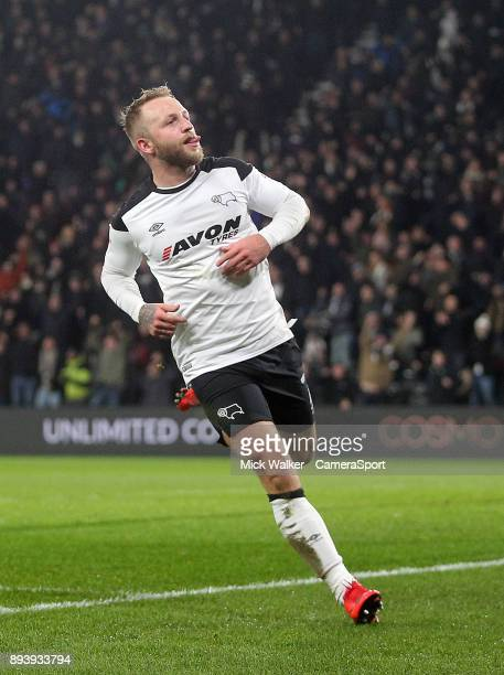 Derby County's Johnny Russell celebrates scoring his sides second goal during the Sky Bet Championship match between Derby County and Aston Villa at...