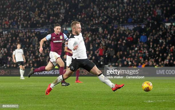 Derby County's Johnny Russell scores his sides second goal during the Sky Bet Championship match between Derby County and Aston Villa at iPro Stadium...