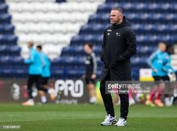Derby County's manager Wayne Rooney looks on during the Sky Bet Championship match between Preston North End and Derby County at Deepdale on April...