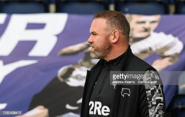 Derby County's manager Wayne Rooney pictured before the match during the Sky Bet Championship match between Preston North End and Derby County at...