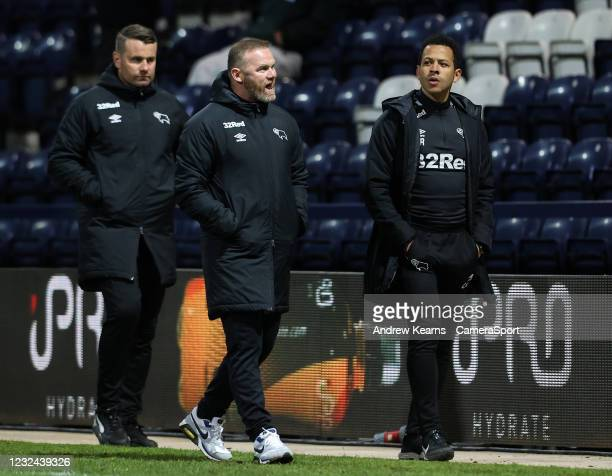 Derby County's manager Wayne Rooney walks off at the end of the match during the Sky Bet Championship match between Preston North End and Derby...