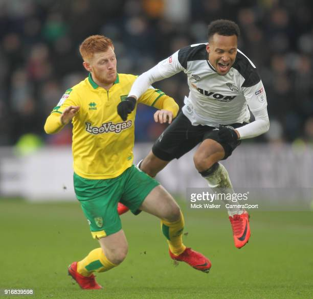 DERBY ENGLAND FEBRUARY Derby County's Marcus Olsson in action with Norwich City's Harrison Reed during the Sky Bet Championship match between Derby...