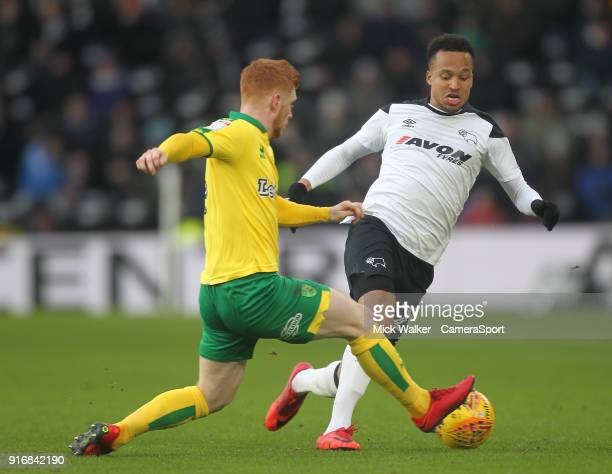 Derby County's Marcus Olsson in action with Norwich City's Harrison Reed during the Sky Bet Championship match between Derby County and Norwich City...