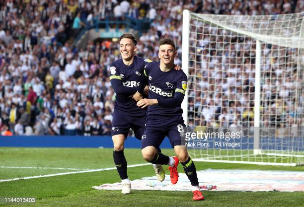 Derby County's Mason Mount celebrates scoring his side's second goal of the game with Harry Wilson during the Sky Bet Championship PlayOff Semi Final...