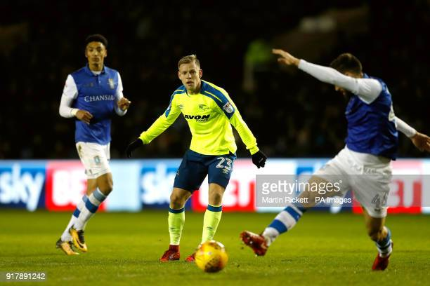Derby County's Matej Vydra and Sheffield Wednesday's Frederico Venancio battle for the ball during the Sky Bet Championship match at Hillsborough...
