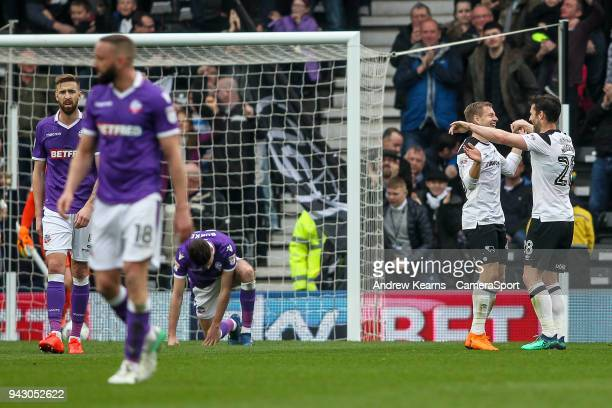 Derby County's Matej Vydra celebrates scoring his side's second goal with team mate David Nugent during the Sky Bet Championship match between Derby...