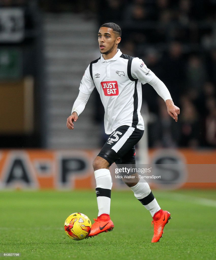 Derby County's Max Lowe during the Sky Bet Championship match between Derby County and Burton Albion at iPro Stadium on February 21, 2017 in Derby, England.