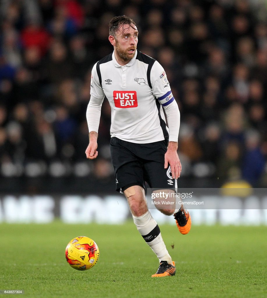 Derby County's Richard Keogh during the Sky Bet Championship match between Derby County and Burton Albion at iPro Stadium on February 21, 2017 in Derby, England.