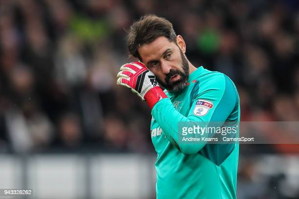 Derby County's Scott Carson during the Sky Bet Championship match between Derby County and Bolton Wanderers at iPro Stadium on April 7 2018 in Derby...