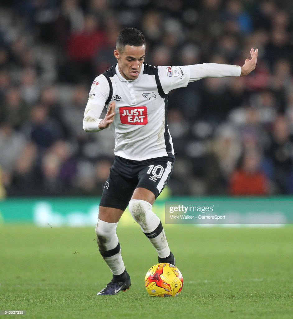 Derby County's Thomas Ince during the Sky Bet Championship match between Derby County and Burton Albion at iPro Stadium on February 21, 2017 in Derby, England.