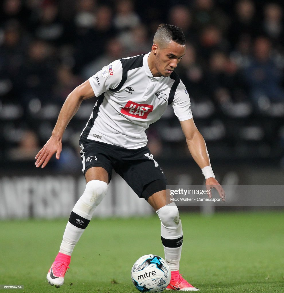 Derby County's Thomas Ince during the Sky Bet Championship match between Derby County and Queens Park Rangers at iPro Stadium on March 31, 2017 in Derby, England.