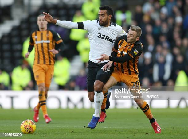 Derby County's Tom Huddlestone and Hull City's Jarrod Bowen during the match at Pride Park Derby County v Hull City Sky Bet Championship Pride Park