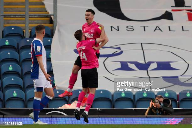 Derby County's Tom Lawrence celebrates scoring his side's first goal to make the score 0-1 during the Sky Bet Championship match between Blackburn...