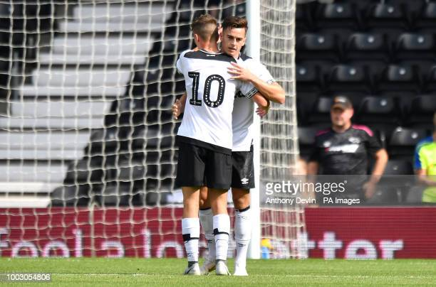 Derby County's Tom Lawrence celebrates scoring his side's second goal of the game with teammate Mason Mount during a pre season friendly match at...