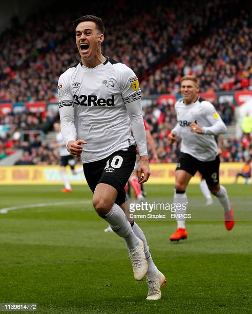 Derby County's Tom Lawrence celebrates scoring his team first goal against Bristol City Bristol City v Derby County - Sky Bet Championship - Ashton...