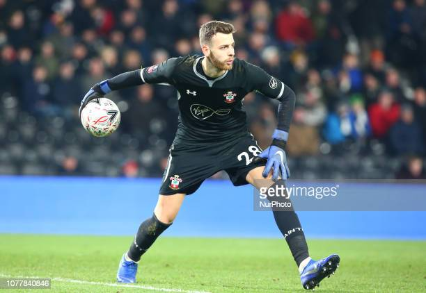 Derby England 05 January 2019 Southampton's Angus Gunn during FA Cup 3rd Round between Derby County and Southampton at Pride Park stadium Derby...