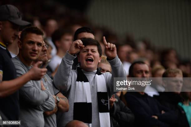 Derby fan gestures 10 to the Nottingham fans during the Sky Bet Championship match between Derby County and Nottingham Forest at iPro Stadium on...