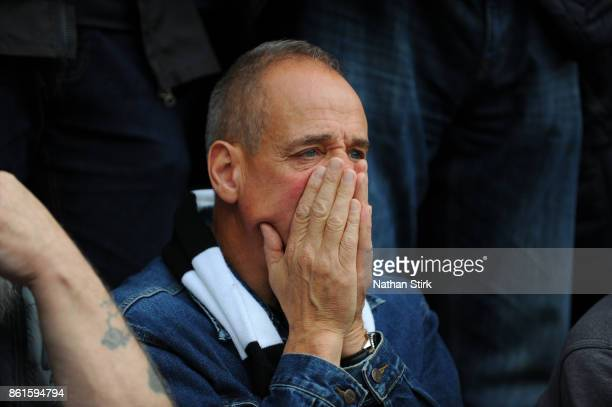 Derby fan looks on nervously during the Sky Bet Championship match between Derby County and Nottingham Forest at iPro Stadium on October 15 2017 in...