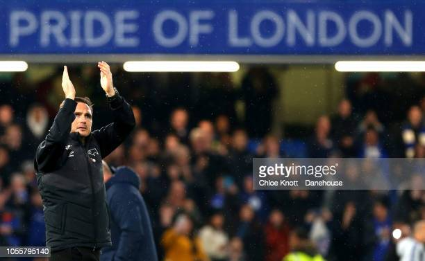 Derby Manager Frank Lampard applauds the crowd after the Carabao Cup Fourth Round match between Chelsea and Derby County at Stamford Bridge on...