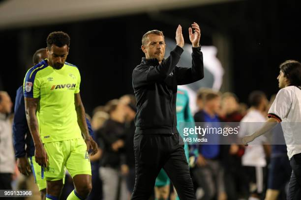 Derby manager Gary Rowett aplaudes the fans at the end of the game during the Sky Bet Championship Play Off Semi Final Second Leg on May 14 2018 at...