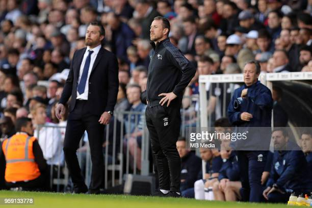 Derby manager Gary Rowett on the touchline at Fulham during the Sky Bet Championship Play Off Semi Final Second Leg on May 14 2018 at Craven Cottage...