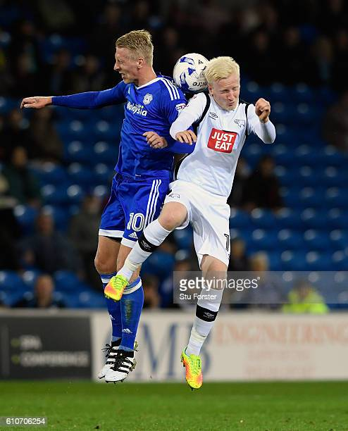 Derby player Will Hughes and Lex Immers of Cardiff compete for a ball during the Sky Bet Championship match between Cardiff City and Derby County at...