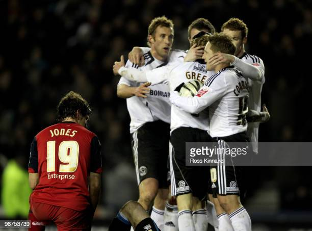 Derby players celebrate after Billy Jones of Preston scores an own goal during the Coca Cola Championship match between Derby County and Preston...